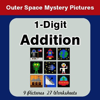 1-Digit Addition - Color By Number Math Mystery Pictures - Space theme