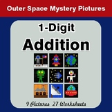 1-Digit Addition - Color-By-Number Math Mystery Pictures - Space theme