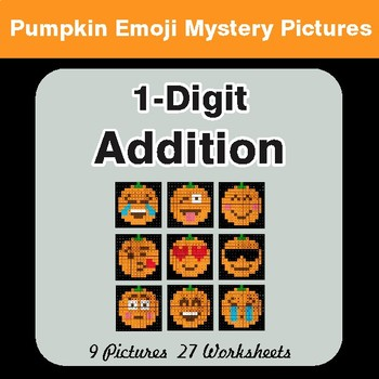 1-Digit Addition - Color-By-Number PUMPKIN EMOJI Math Mystery Pictures