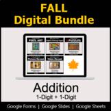 1-Digit Addition - Digital Fall Math Bundle