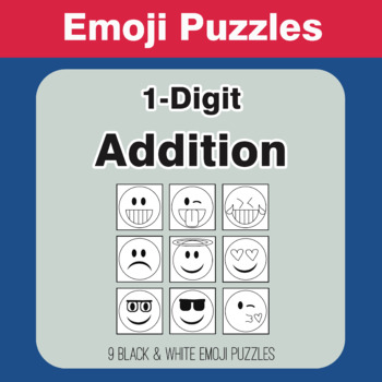1-Digit Addition - Emoji Picture Puzzles