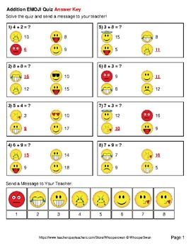 1-Digit Addition Emoji Quiz