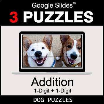 1-Digit Addition - Google Slides - Dog Puzzles