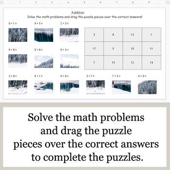 1-Digit Addition - Google Slides - Winter Puzzles