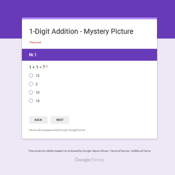 1-Digit Addition - Monster Mystery Picture - Google Forms