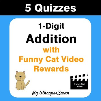 1-Digit Addition Quizzes with Funny Cat Video Rewards