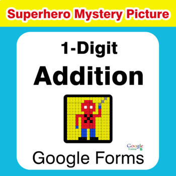 1-Digit Addition - Superhero Mystery Picture - Google Forms