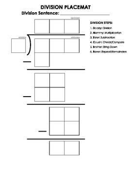 1-Digit Divisor Division Mat