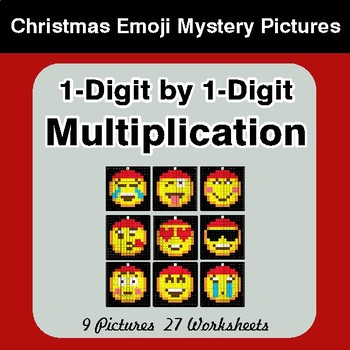 1-Digit Multiplication - Christmas EMOJI Color-By-Number Math Mystery Pictures