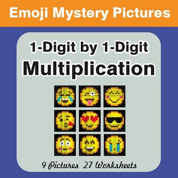 1-Digit Multiplication Color-By-Number EMOJI Math Math Mystery Pictures