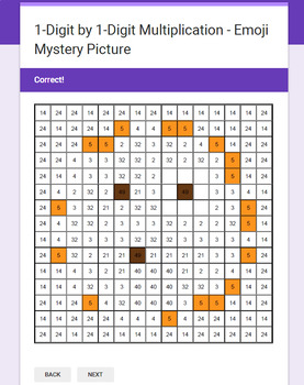 1-Digit Multiplication - EMOJI Mystery Picture - Google Forms