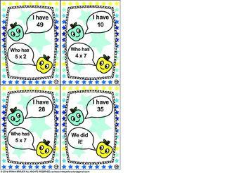 1-Digit Multiplication - I have, Who has Game (Math Class) *Advanced* Grade 2-5