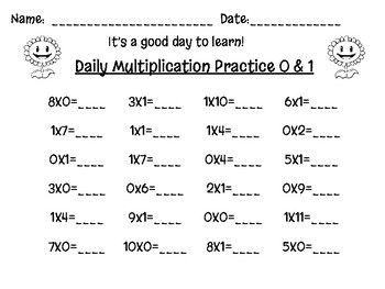 1 Digit Multiplication Practice Packet