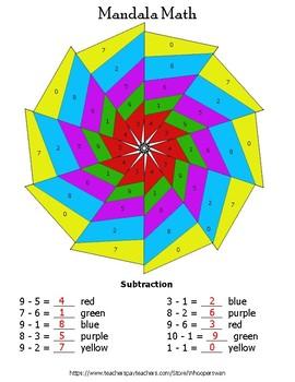 1-Digit Subtraction Mandala Math Color by Number
