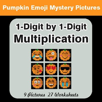 1-Digit by 1-Digit MULTIPLICATION - PUMPKIN EMOJI Mystery Pictures