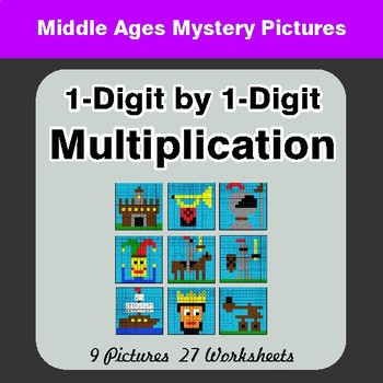1-Digit by 1-Digit Multiplication - Color-By-Number Math Mystery Pictures