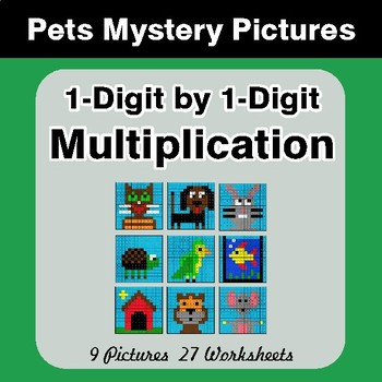 1-Digit by 1-Digit Multiplication - Color-By-Number Math Mystery Pictures - Pets