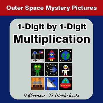 1-Digit by 1-Digit Multiplication - Color-By-Number Math Mystery Pictures - Space