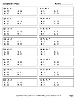 1-Digit by 1-Digit Multiplication Quiz - Test - Assessment - Worksheet