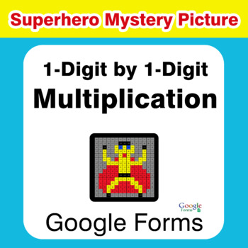 1-Digit by 1-Digit Multiplication - Superhero Mystery Picture - Google Forms