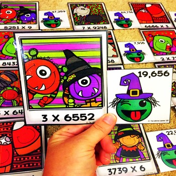 1 Digit by 4 Digit Multiplication Game October Math Center