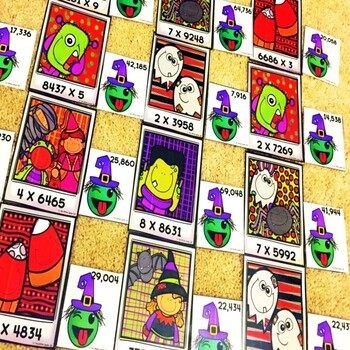 1 Digit by 4 Digit Multiplication Halloween Game