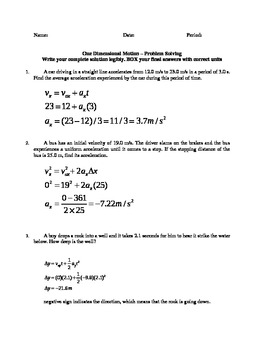 1 Dimensional Kinematic Motion Problems - X and Y axis with Key