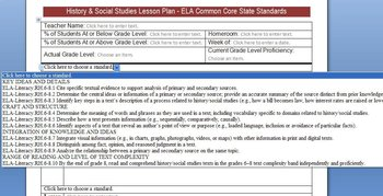 Common Core Lesson Plan Template w/Stds in Drop Downs - One ELA Grade 7