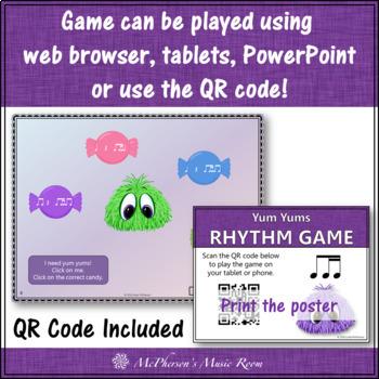 1 Eighth & 2 Sixteenth Note Yum Yums Interactive Rhythm Game