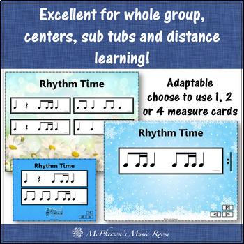 Rhythm Flashcards {1 Eighth/2 Sixteenth Notes} Interactive Rhythm Flash Cards