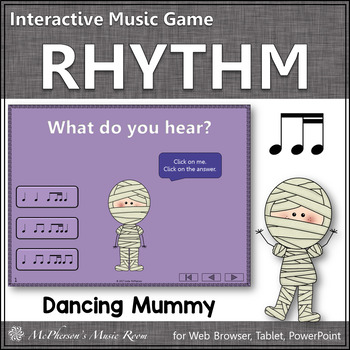 1 Eighth/2 Sixteenth Notes Interactive Rhythm Game {Dancing Mummy}