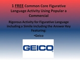 1 FREE Common Core Activity for Figurative Language in Commercials w/Answer Key