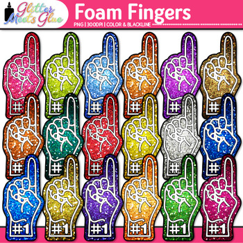 Foam Fingers Clip Art {Sports Fan Team Gear for Physical Education Teachers}