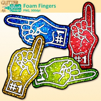 Foam Fingers Clip Art | Sports Fan Team Gear for Physical Education Teachers