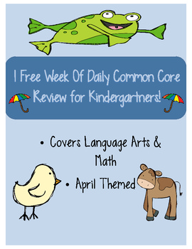 1 Free Week of April Daily Common Core Practice for Kindergarten