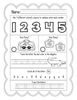 1 Free Week of September Daily Common Core Practice for Kindergarten