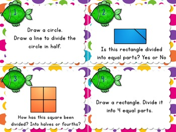 1.G.3 Task Cards Geometry Partitioning Shapes