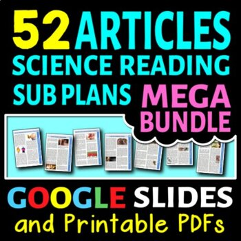 Science Sub Plans Literacy MEGA BUNDLE - 50 Secondary Science Reading Articles