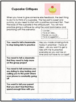 """School Counseling """"Accepting Feedback"""" Lesson for Teens in Middle & High School"""
