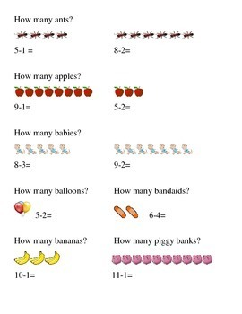 #1 How Many Subtraction Kindergarten Math