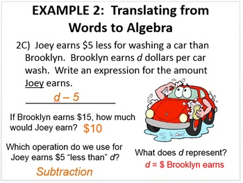 1) Intro to Algebra BUNDLE: Variables & More - PPT Lesson & Notes