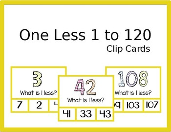 1 Less Clip Cards (Numbers 1 to 120)