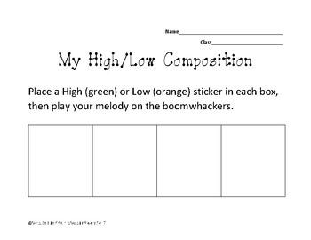 High/Low Boomwhacker Composing worksheet