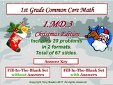 1.MD.3 Christmas Edition 1st Grade Math - Tell time in hours and half-hours.