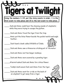 #19 Magic Tree House- Tigers at Twilight Novel Study