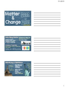 Matter and Change Student Note-taking Assignment