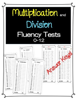 1 Min Multiplication and Division Fluency Tests {1-12}