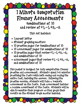 1 Minute Computation Fluency Assessments Vol. 2 (Combinations of 10)