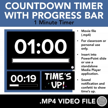 1 Minute Countdown Timer (Video File for PowerPoint or
