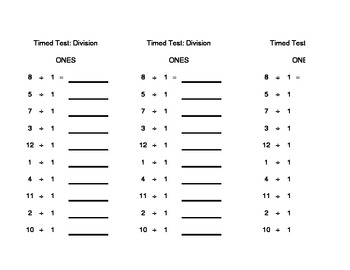 1 Minute Division Test